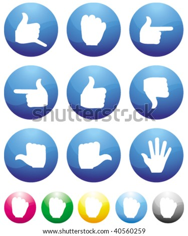 direction finger blue button icons - stock vector