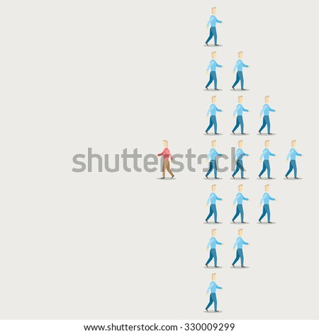 direction of people different concept - stock vector
