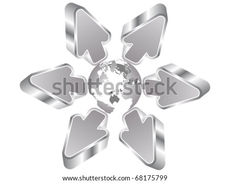 direction of the earth - stock vector