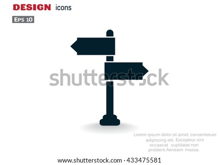 Direction road icon, Direction road icon eps 10, Direction road icon vector, Direction road icon illustration, Direction road icon jpg, Direction road icon picture, Direction road icon flat. - stock vector