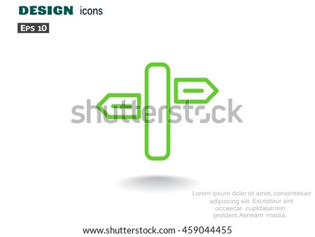 Direction road icon flat. - stock vector
