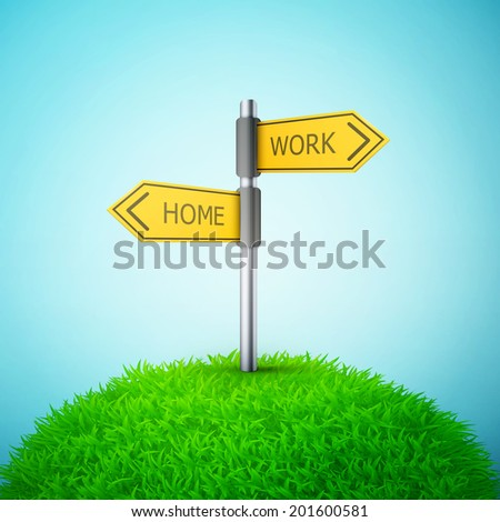 direction road sign with home and work words on the grass eps10 vector illustration - stock vector