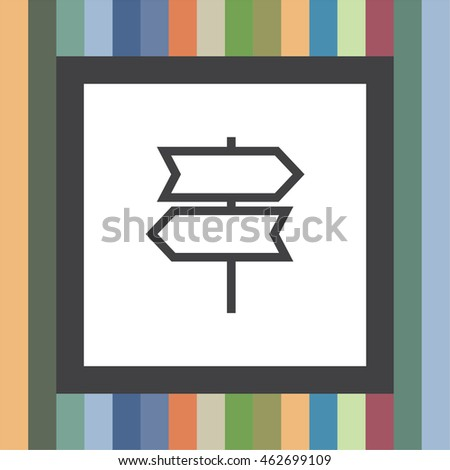 Direction sign line vector icon. Road sign vector icon. Information symbol.