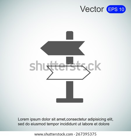 Direction sign vector icon