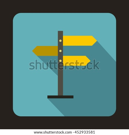 Direction signs icon in flat style on a baby blue background