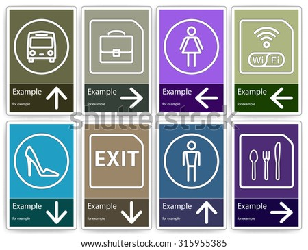 Direction signs mockup. Color templates to create indoor or outdoor pointers.