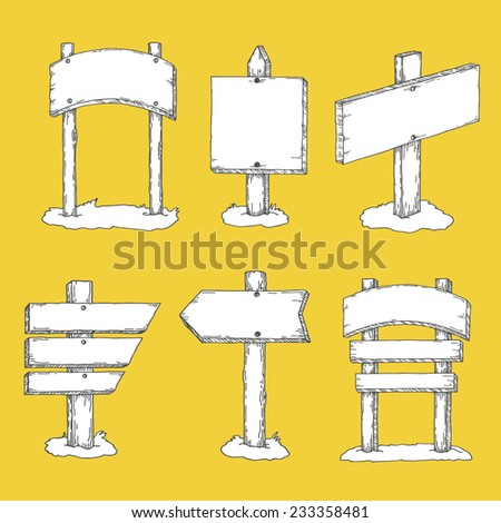 direction signs, wooden, for games - stock vector