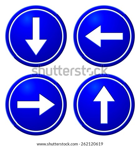Directional Arrows Blue Signs. Danger and Caution Street Signs Collection. Road Signs - stock vector