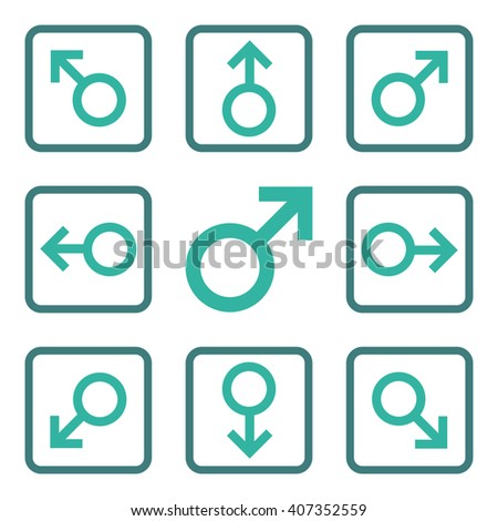 Directions vector bicolor icon. Image style is a flat icon symbol inside a square rounded frame, cobalt and cyan colors, white background. - stock vector