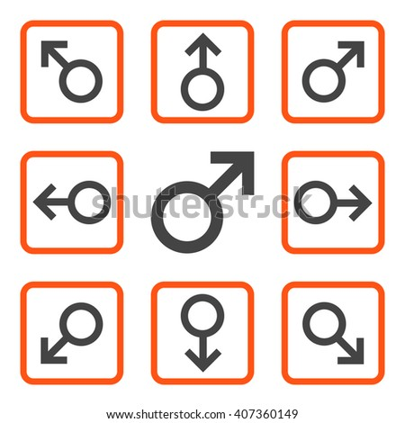 Directions vector bicolor icon. Image style is a flat icon symbol inside a square rounded frame, orange and gray colors, white background. - stock vector