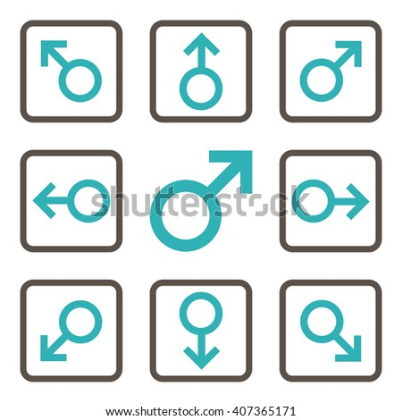 Directions vector bicolor icon. Image style is a flat icon symbol inside a square rounded frame, grey and cyan colors, white background. - stock vector