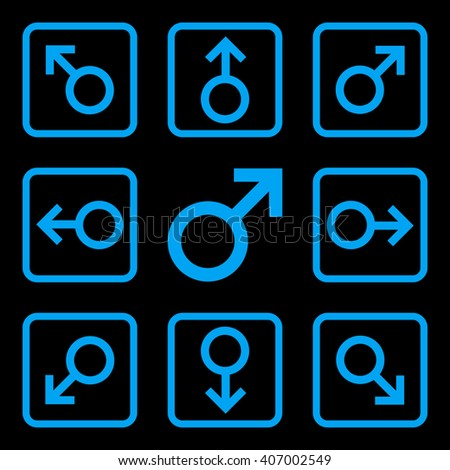 Directions vector icon. Image style is a flat icon symbol inside a square rounded frame, blue color, black background. - stock vector