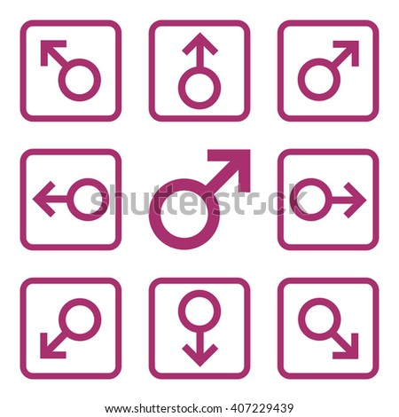 Directions vector icon. Image style is a flat icon symbol inside a square rounded frame, purple color, white background. - stock vector