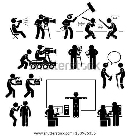 Director Making Filming Movie Production Actor Stick Figure Pictogram Icon - stock vector