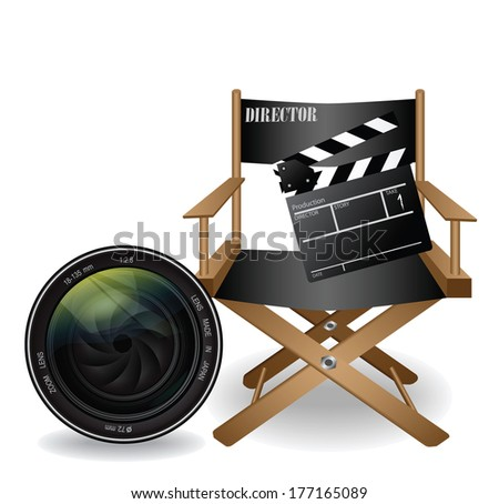 director movie chair and lens vector - stock vector