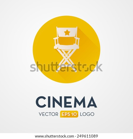 Director`s chair - flat design icon, logo. Symbol of the film production industry. - stock vector