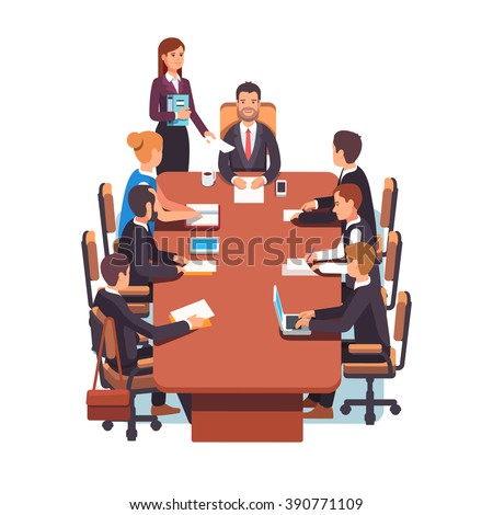 Directors board meeting. Business executives people working together in conference room at big desk. Flat style color modern vector illustration. - stock vector