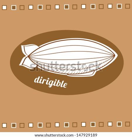 Dirigible balloon, vector illustration - stock vector