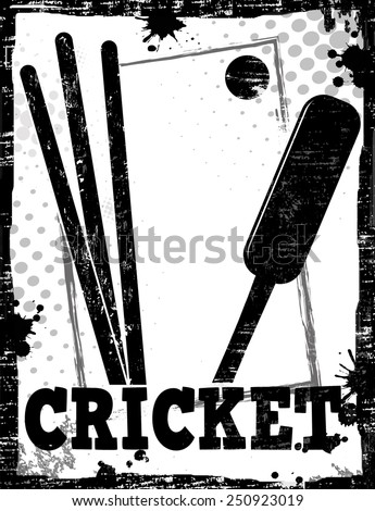 Dirty cricket poster background, vector illustration - stock vector