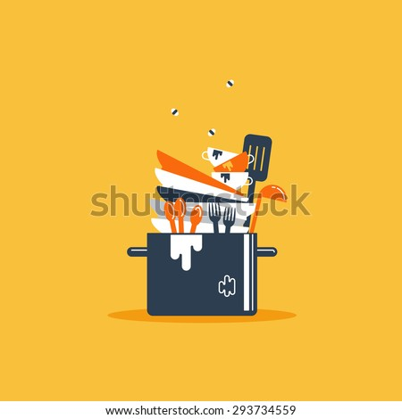 Dirty dishes - stock vector