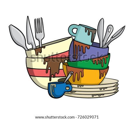 dirty dishes cutlery stock vector 2018 726029071 shutterstock rh shutterstock com no dirty dishes clipart Clean Dishes Clip Art