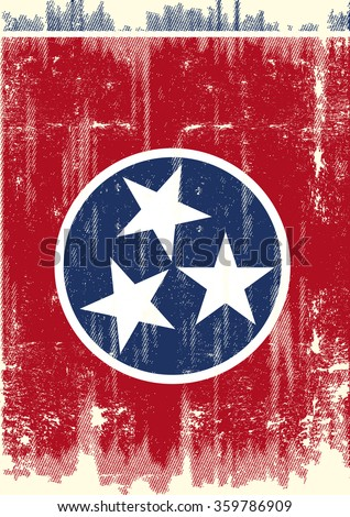 Dirty Flag of Tennessee . A flag of Tennessee with a grunge texture - stock vector