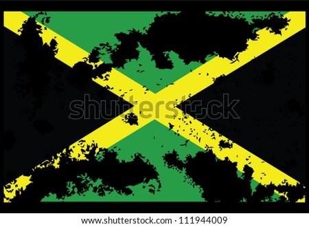 Dirty Jamaica flag backgrounds - stock vector