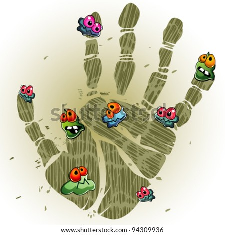 Dirty palm print - stock vector