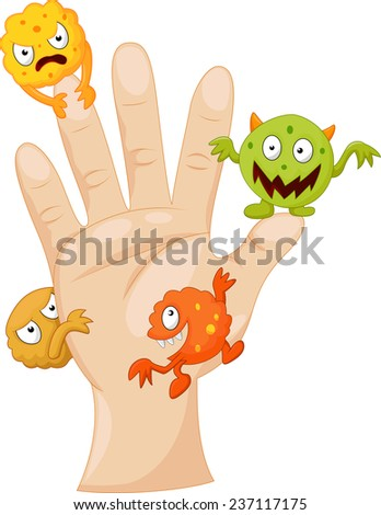 Dirty palm with cartoon germs - stock vector