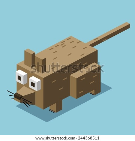 dirty rat. 3d pixelate isometric vector - stock vector
