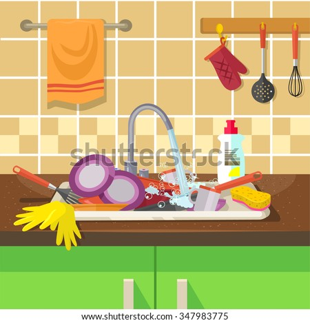 Dirty sink with kitchenware. Vector flat illustration