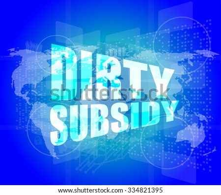 dirty subsidy on digital touch screen vector illustration - stock vector