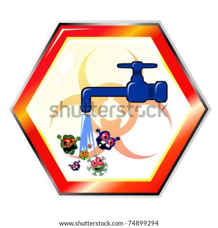 Dirty water warning sign - stock vector