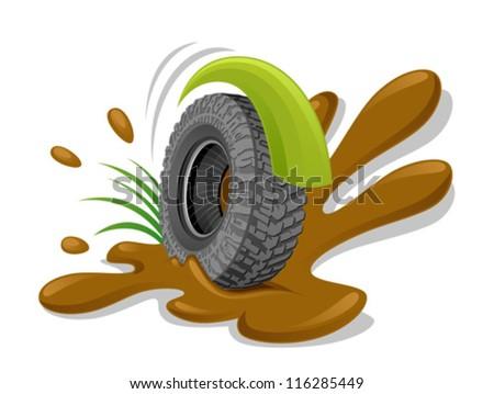 Dirty wheel - stock vector
