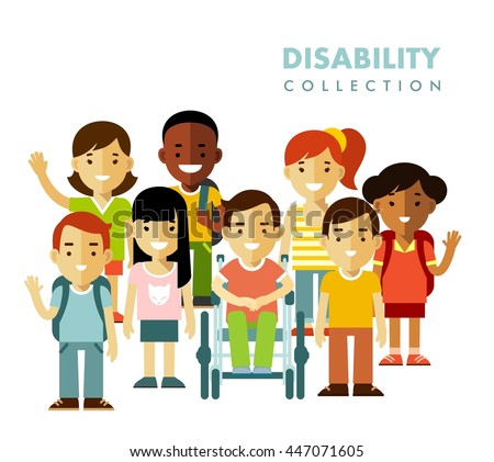 Disability children friendship concept. Disabled boy in wheelchair together with friends isolated on white background - stock vector