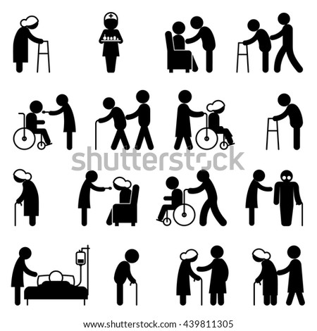 Disability people nursing and disabled health care icons. Disabled people, help disabled  people patient, person disabled in wheelchair, vector illustration - stock vector