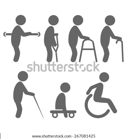 Disability people pictograms flat icons isolated on white background - stock vector