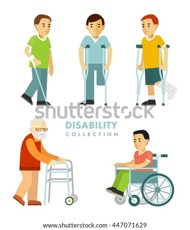 Disability people set. Young and elderly disabled men in wheelchair, with crutches, stick, walker isolated on white background - stock vector