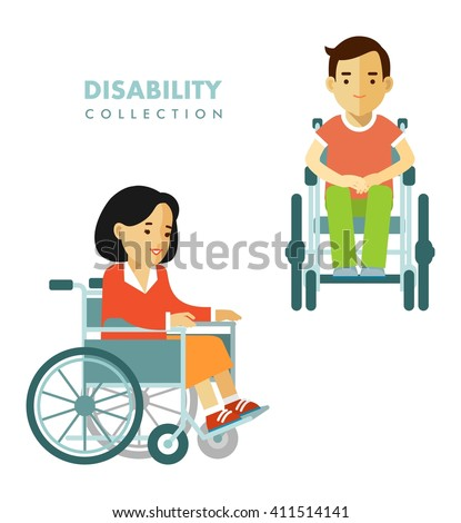 Disability person concept. Young disabled man and woman in wheelchair isolated on white background - stock vector