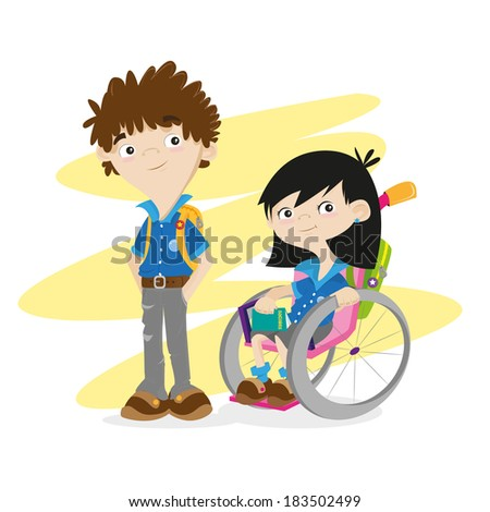 Disable girl and boy, kids, students. Wheelchair. - stock vector