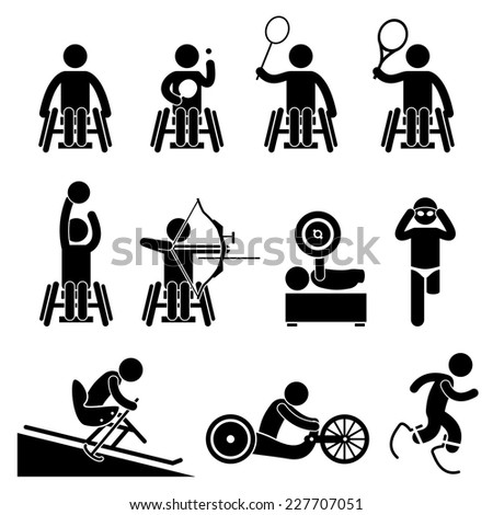 Disable Handicap Sport Paralympic Games Stick Figure Pictogram Icons - stock vector