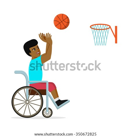 Disabled African American man in a wheelchair playing basketball. Flat vector illustration of handicapped player throwing a ball into basket. Concept for sport, summer paralympic games, recovery. - stock vector