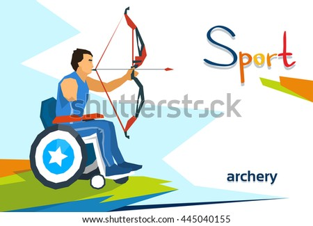 Disabled Athlete On Wheelchair Archery Sport Competition Flat Vector Illustration - stock vector