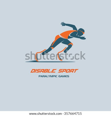 Disabled athlete. Paralympic games. Vector logo. - stock vector