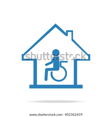 Disabled care, Nursing home sign icon - stock vector