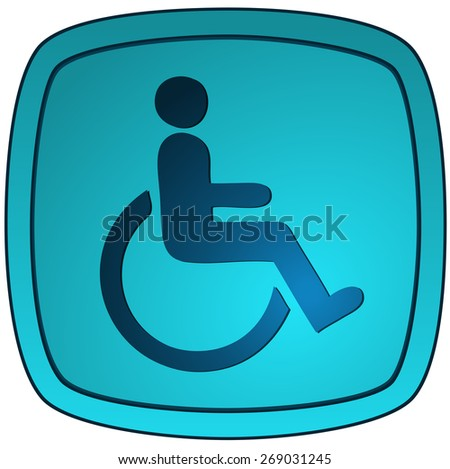 Disabled Glossy Sign, Vector Illustration. - stock vector