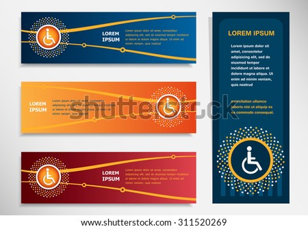 Disabled Handicap icon on modern abstract flyer, banner, brochure design template. Collection for Business  - stock vector