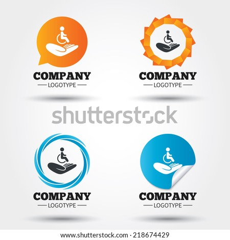 Disabled human insurance sign icon. Hand holds wheelchair man symbol. Health insurance. Business abstract circle logos. Icon in speech bubble, wreath. Vector - stock vector