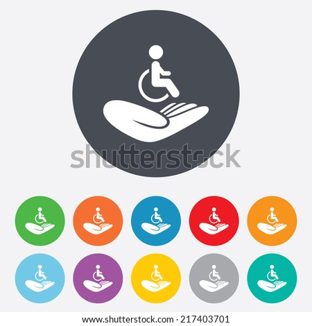 Disabled human insurance sign icon. Hand holds wheelchair man symbol. Health insurance. Round colourful 11 buttons. Vector - stock vector