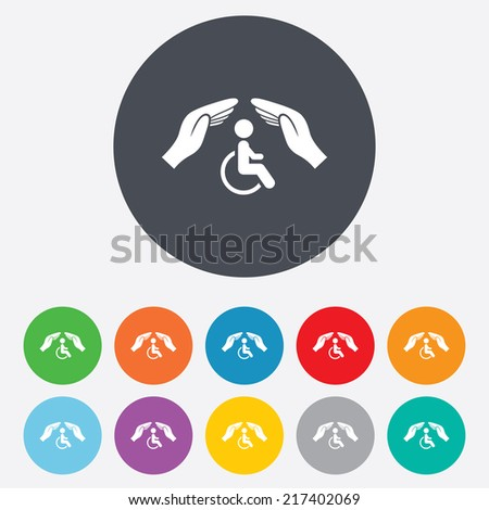 Disabled human insurance sign icon. Hands protect wheelchair man symbol. Health insurance. Round colourful 11 buttons. Vector - stock vector